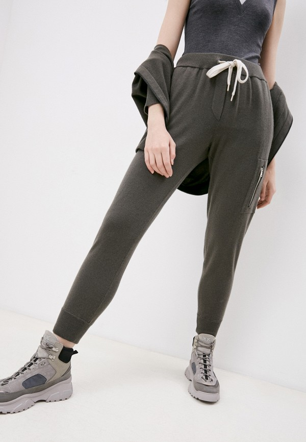 женские брюки джоггеры brunello cucinelli, серые