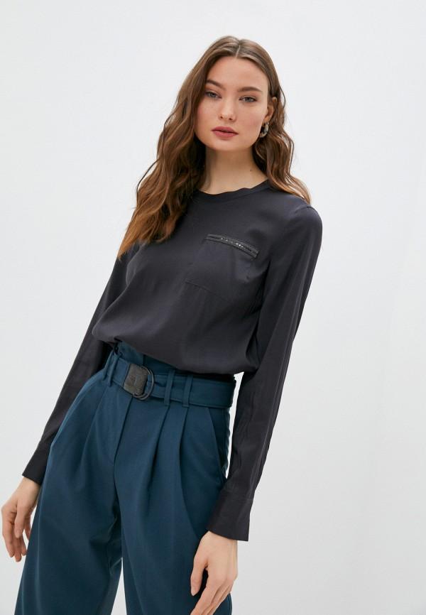 женская блузка с длинным рукавом brunello cucinelli, серая