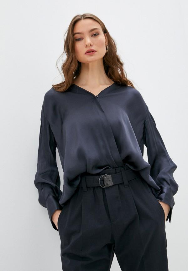 женская блузка с длинным рукавом brunello cucinelli, синяя