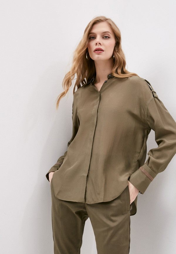 женская блузка с длинным рукавом brunello cucinelli, хаки