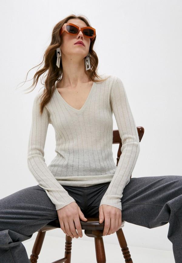 женский пуловер brunello cucinelli, бежевый
