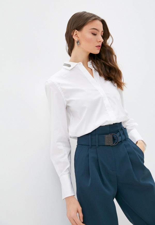 женская рубашка с длинным рукавом brunello cucinelli, белая