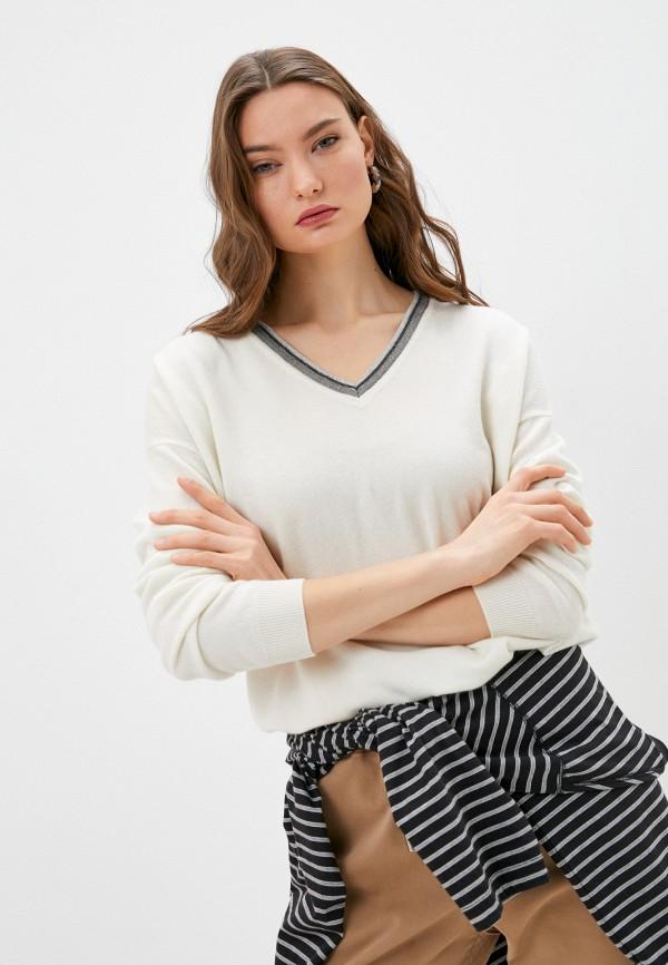 женский пуловер brunello cucinelli, белый