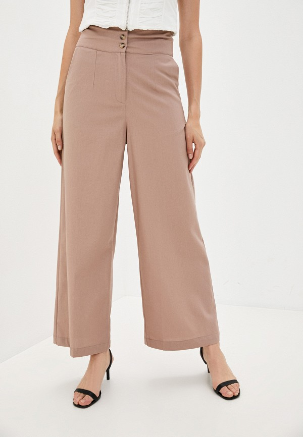 женские повседневные брюки b.style, розовые