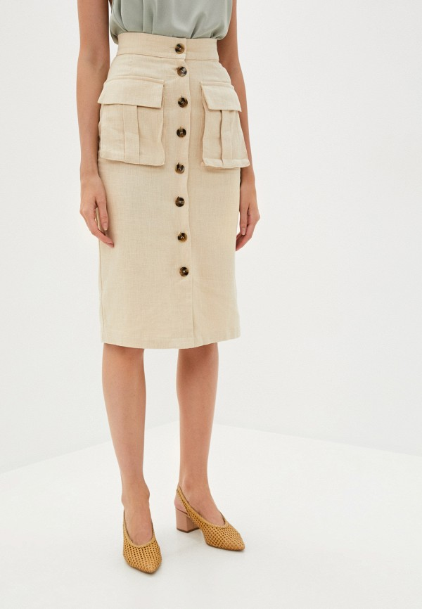 женская прямые юбка b.style, бежевая