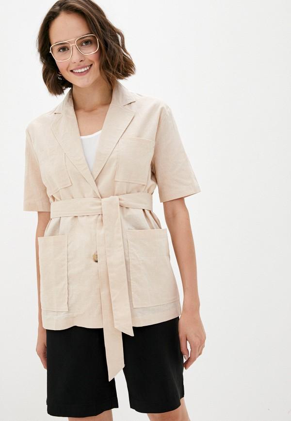 женская рубашка с коротким рукавом b.style, бежевая