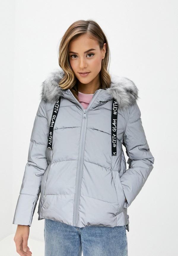 женская утепленные куртка b.style, серебряная