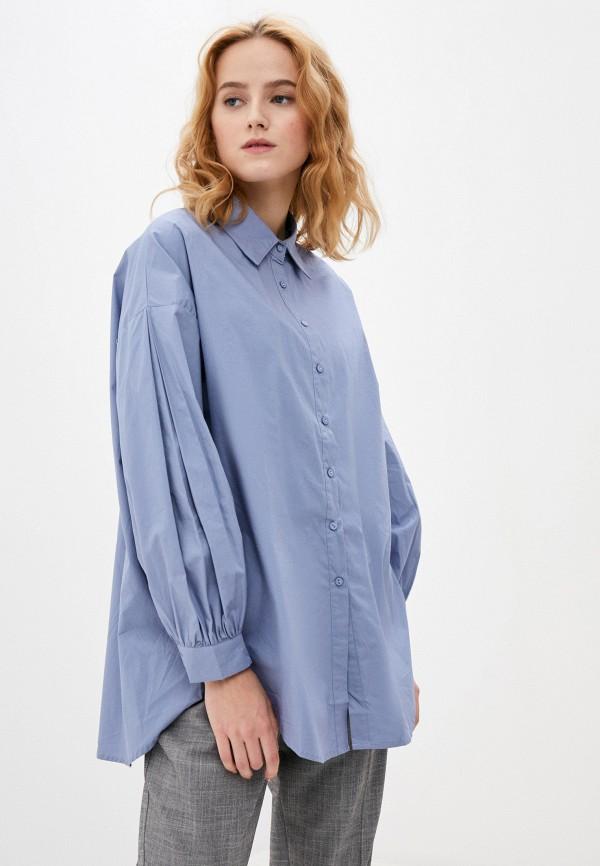 женская рубашка с длинным рукавом b.style, голубая