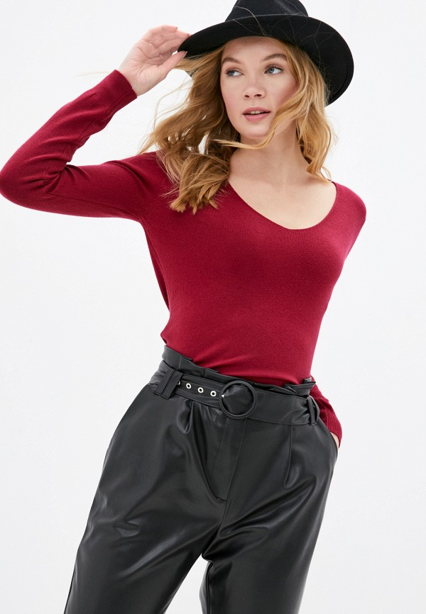 женский пуловер b.style, бордовый