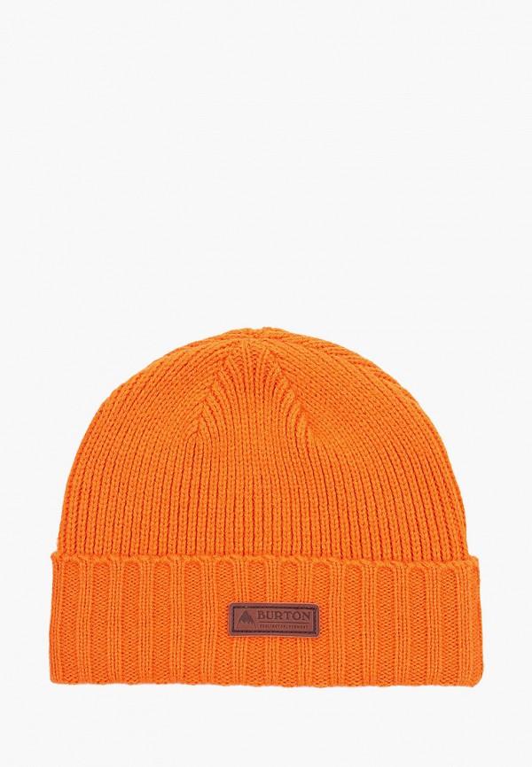 женская шапка burton, оранжевая