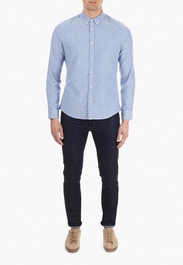 Фото 2 - мужскую рубашку Burton Menswear London голубого цвета
