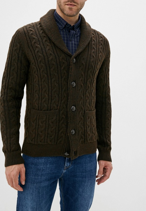 мужской кардиган burton menswear london, коричневый