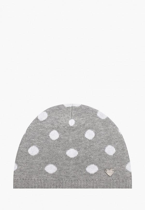 шапка button blue для девочки, серая