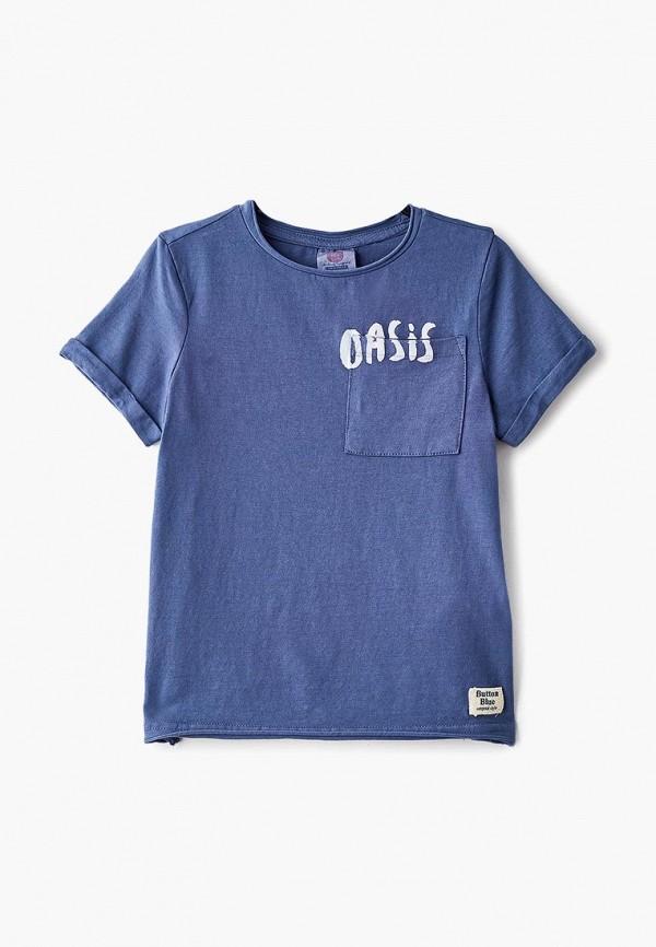 футболка с коротким рукавом button blue для мальчика, голубая