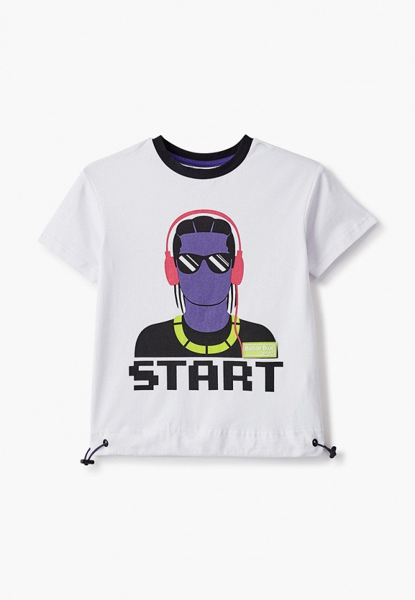 футболка с коротким рукавом button blue для мальчика, белая