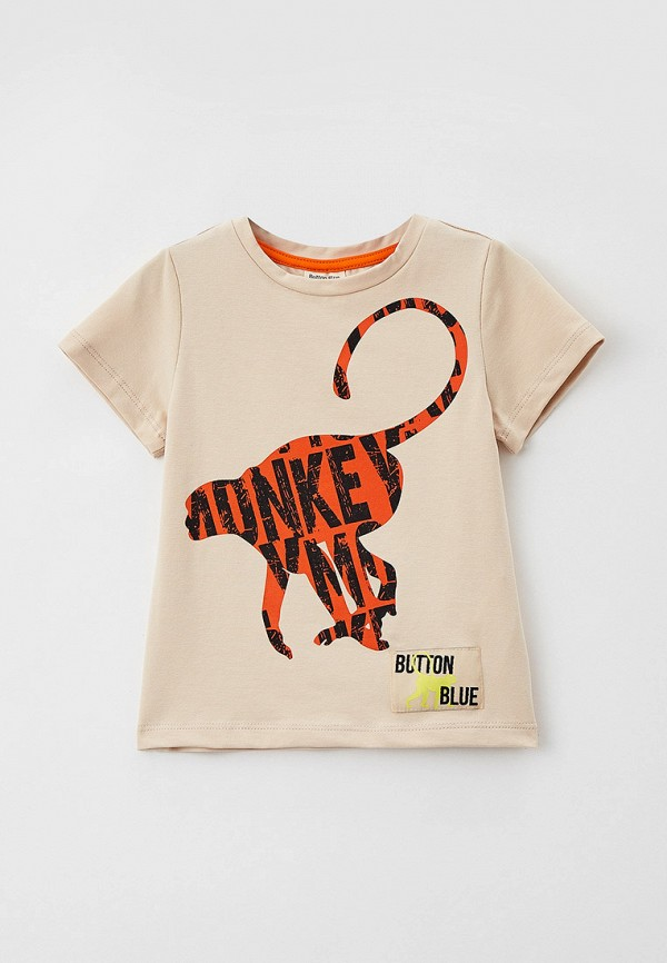 футболка с коротким рукавом button blue для мальчика, бежевая