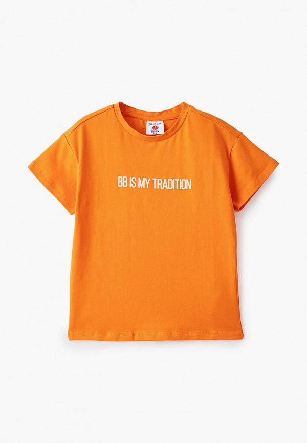 футболка с коротким рукавом button blue для мальчика, оранжевая