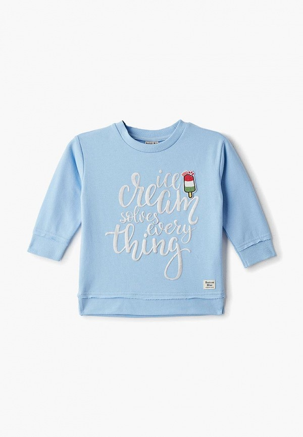 свитшот button blue для девочки, голубой