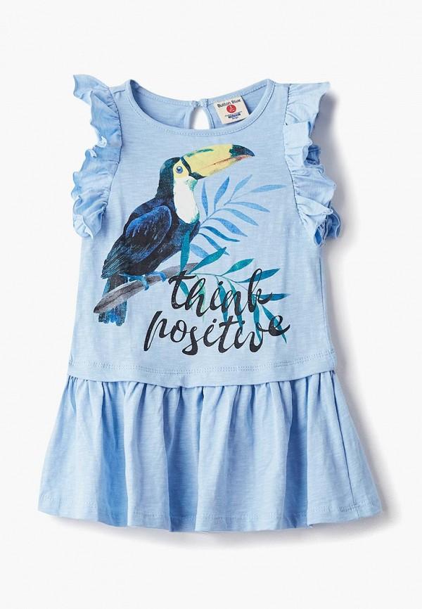 повседневные платье button blue для девочки, голубое
