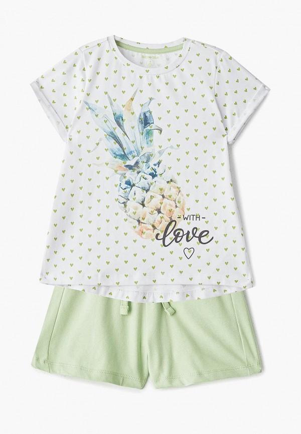 пижама button blue для девочки, разноцветная