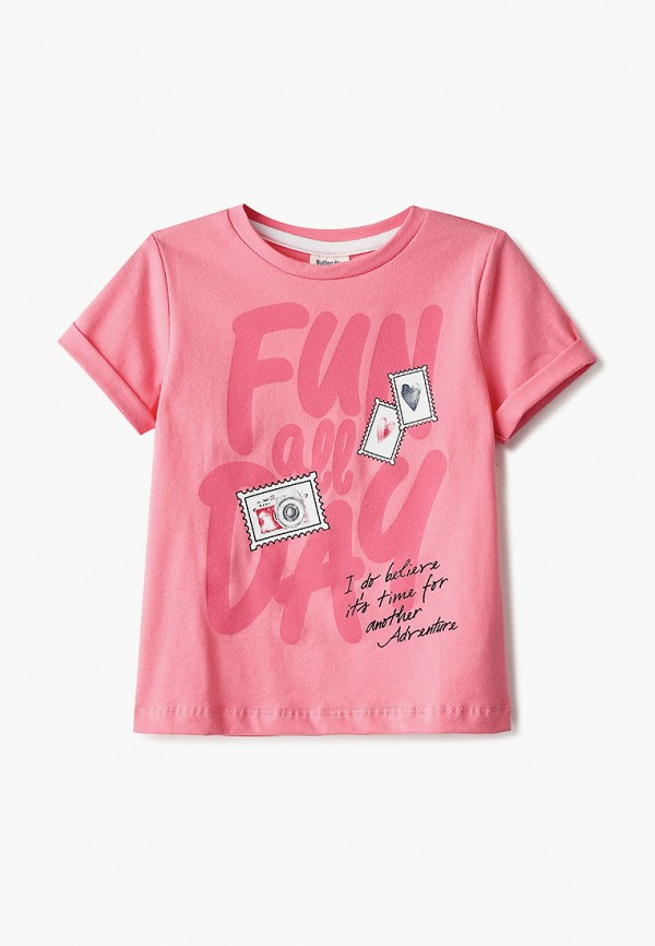 футболка с коротким рукавом button blue для девочки, розовая