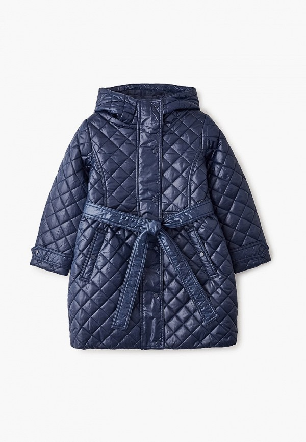 утепленные куртка button blue для девочки, синяя