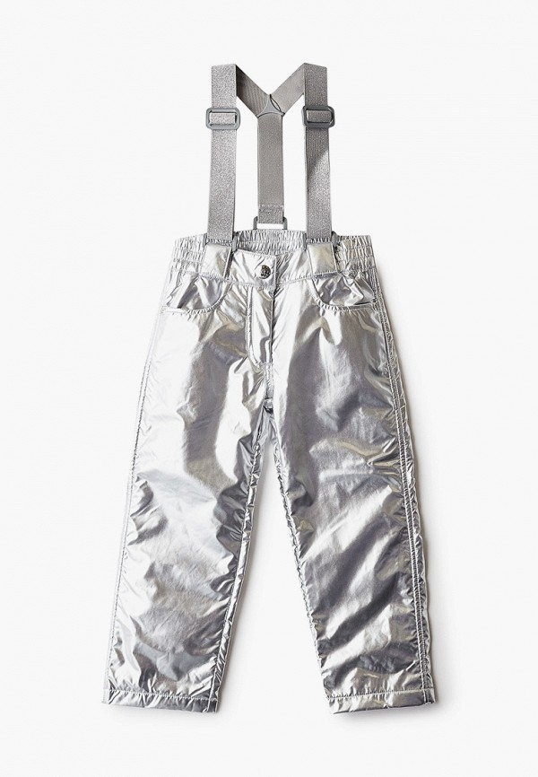 утепленные брюки button blue для девочки, серебряные
