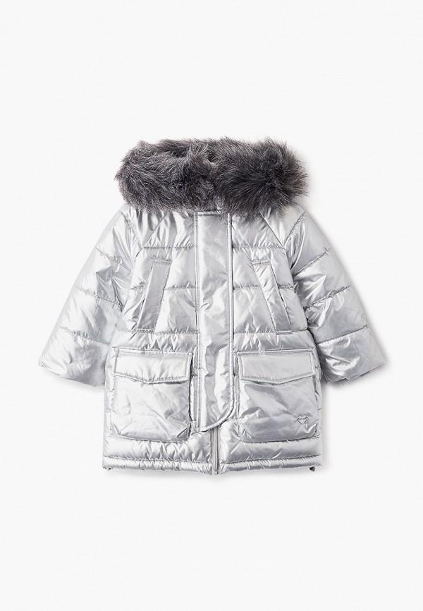 утепленные куртка button blue для девочки, серебряная