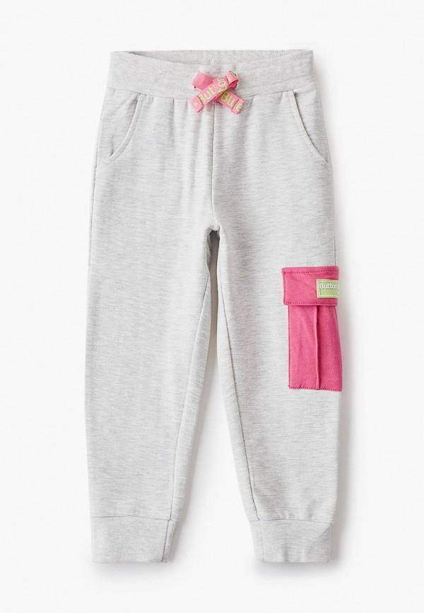 спортивные брюки button blue для девочки, серые