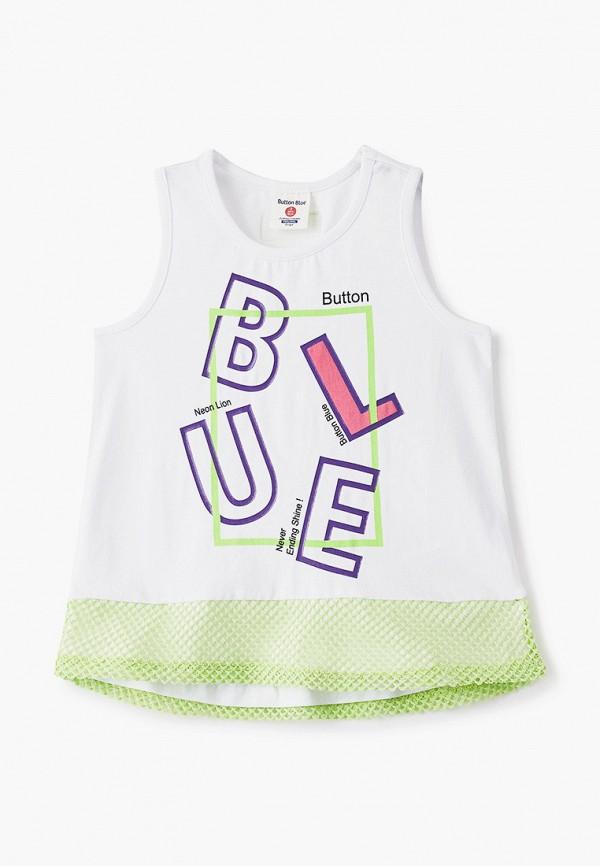 майка button blue для девочки, белая