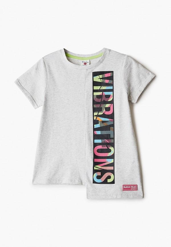 футболка с коротким рукавом button blue для девочки, серая