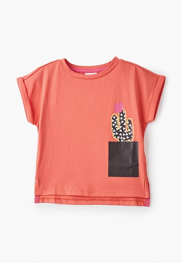 футболка с коротким рукавом button blue для девочки, оранжевая
