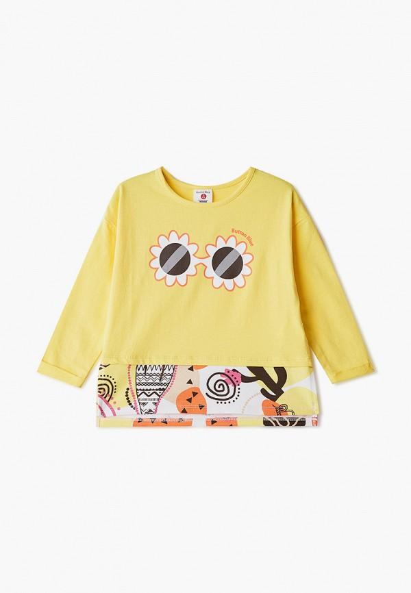 лонгслив button blue для девочки, желтый