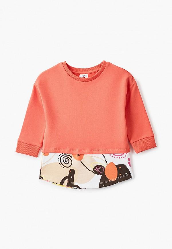 свитшот button blue для девочки, оранжевый