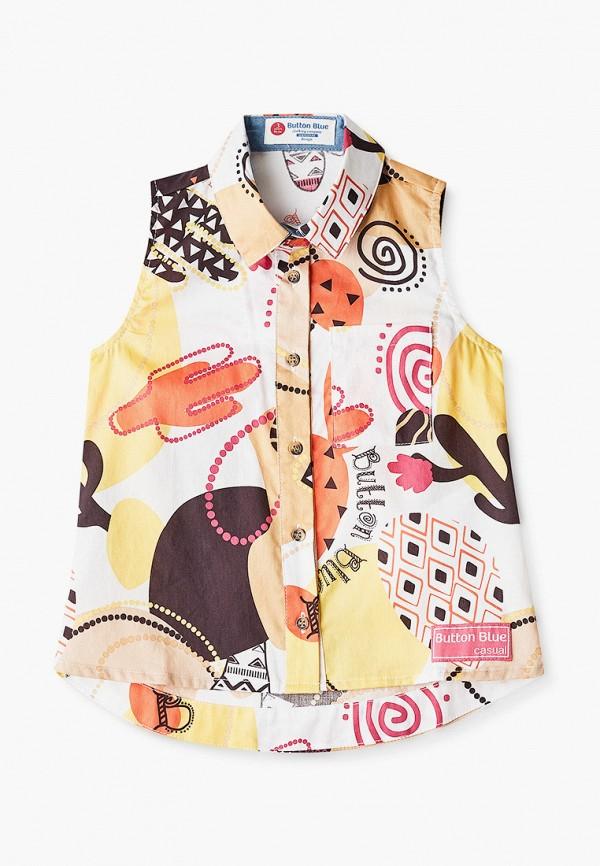 блузка button blue для девочки, разноцветная