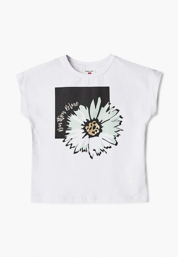 футболка с коротким рукавом button blue для девочки, белая