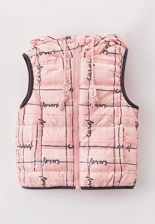 утепленные жилет button blue для девочки, розовый