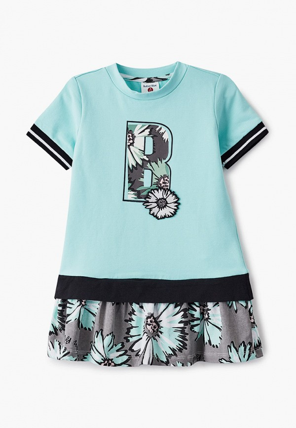 повседневные платье button blue для девочки, бирюзовое
