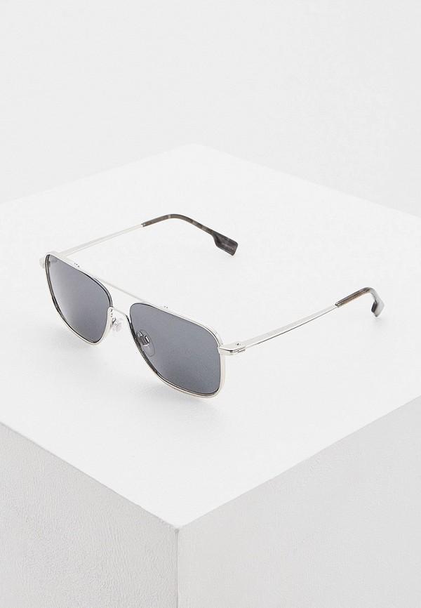 мужские авиаторы солнцезащитные очки burberry, серебряные