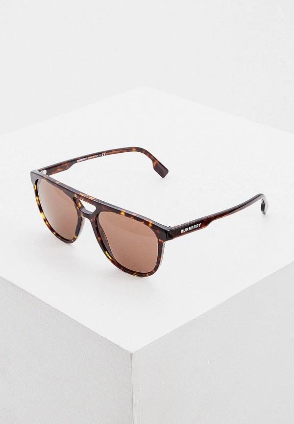 мужские круглые солнцезащитные очки burberry, коричневые