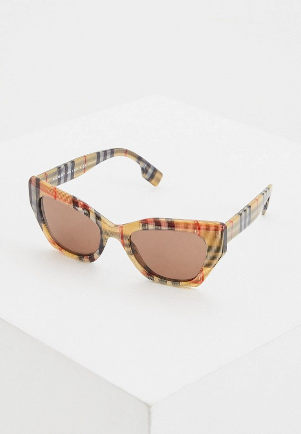 женские солнцезащитные очки кошачьи глаза burberry, бежевые