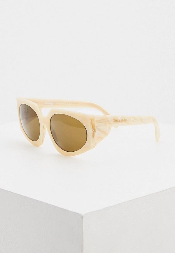женские круглые солнцезащитные очки burberry, бежевые
