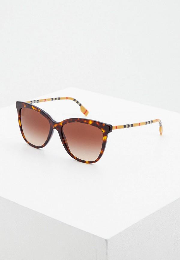 женские солнцезащитные очки кошачьи глаза burberry, коричневые