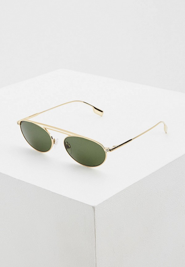 женские круглые солнцезащитные очки burberry, золотые