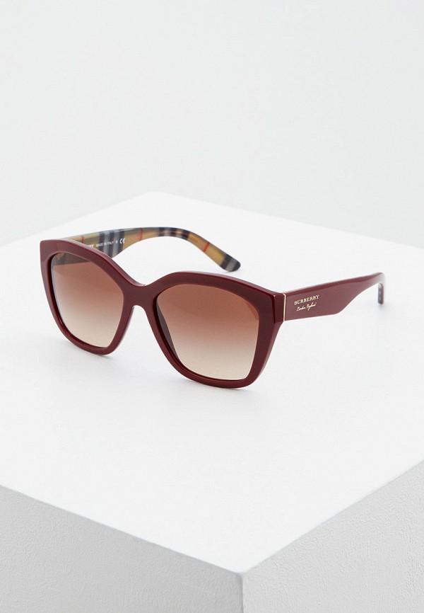 женские квадратные солнцезащитные очки burberry, бордовые