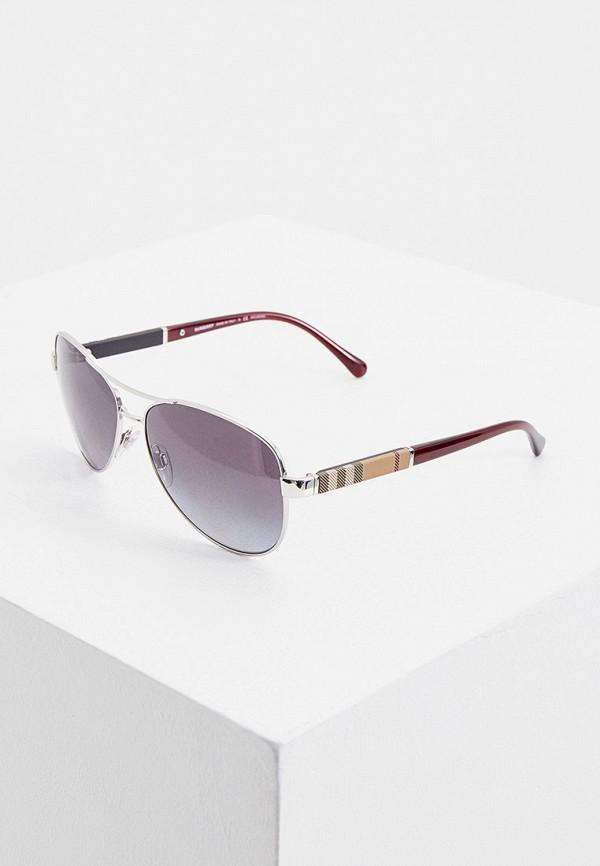 женские авиаторы солнцезащитные очки burberry, серебряные