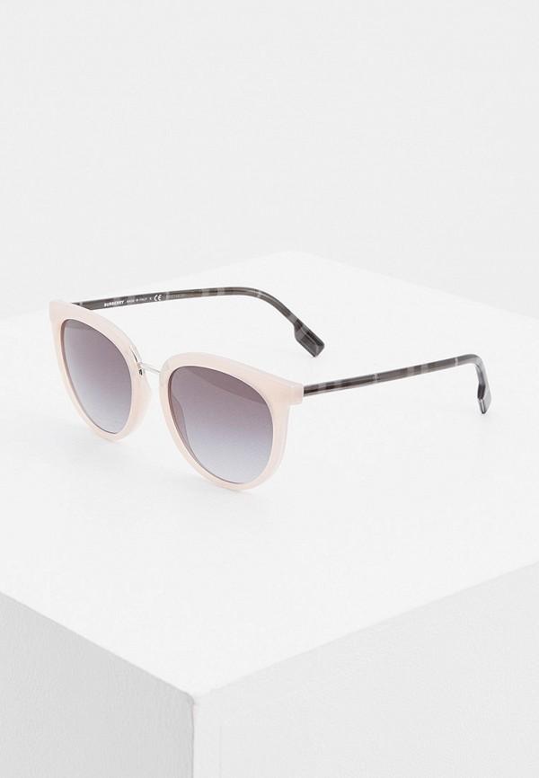 женские круглые солнцезащитные очки burberry, розовые