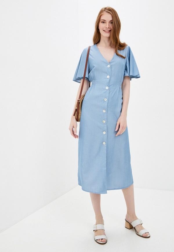 женское повседневные платье by swan, голубое