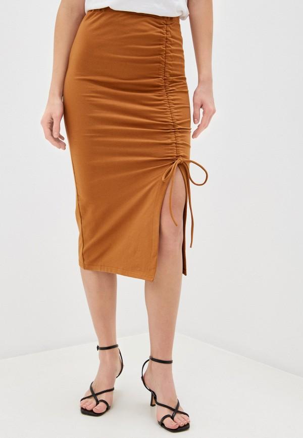 женская зауженные юбка by swan, коричневая