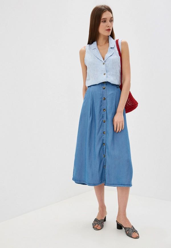Фото 2 - Юбку джинсовая b.young синего цвета